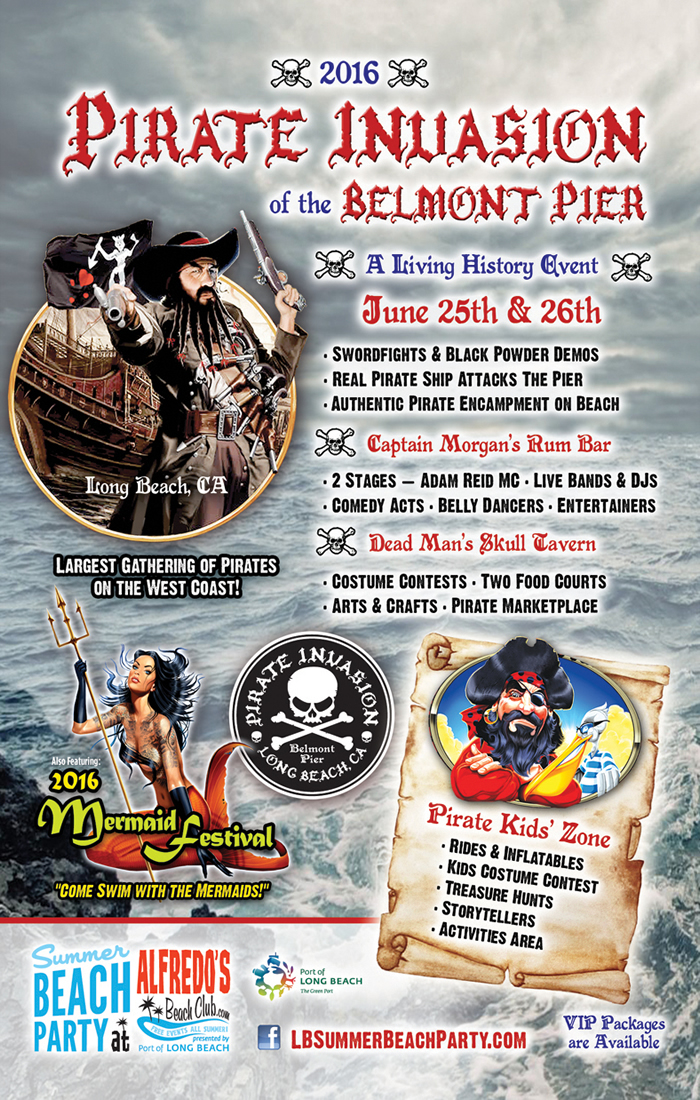 Pirate Invasion of The Belmont Pier Also Featuring Mermaid Festival June 26th - 26th, 2016